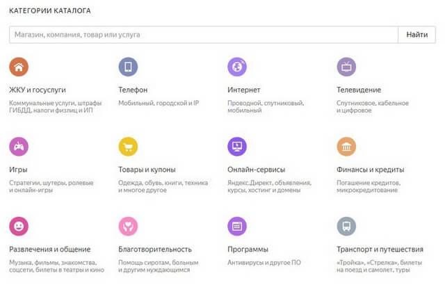 Яндекс Деньги каталог товаров